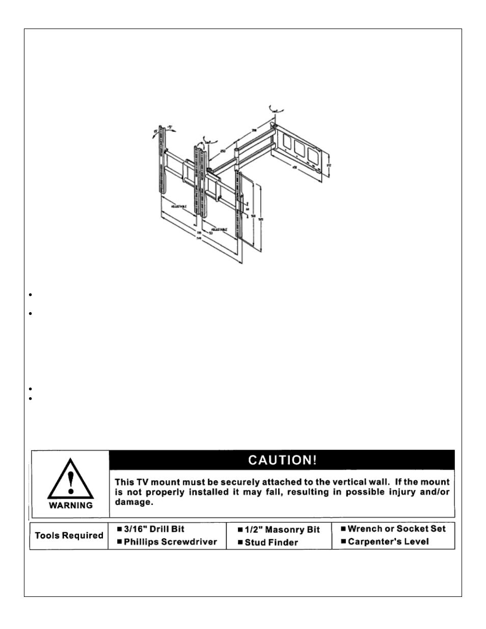 venturi tv wall bracket instructions