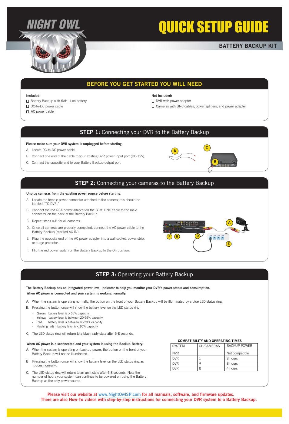 Night Owl B-PE81-47-BB quick start User Manual | 1 page