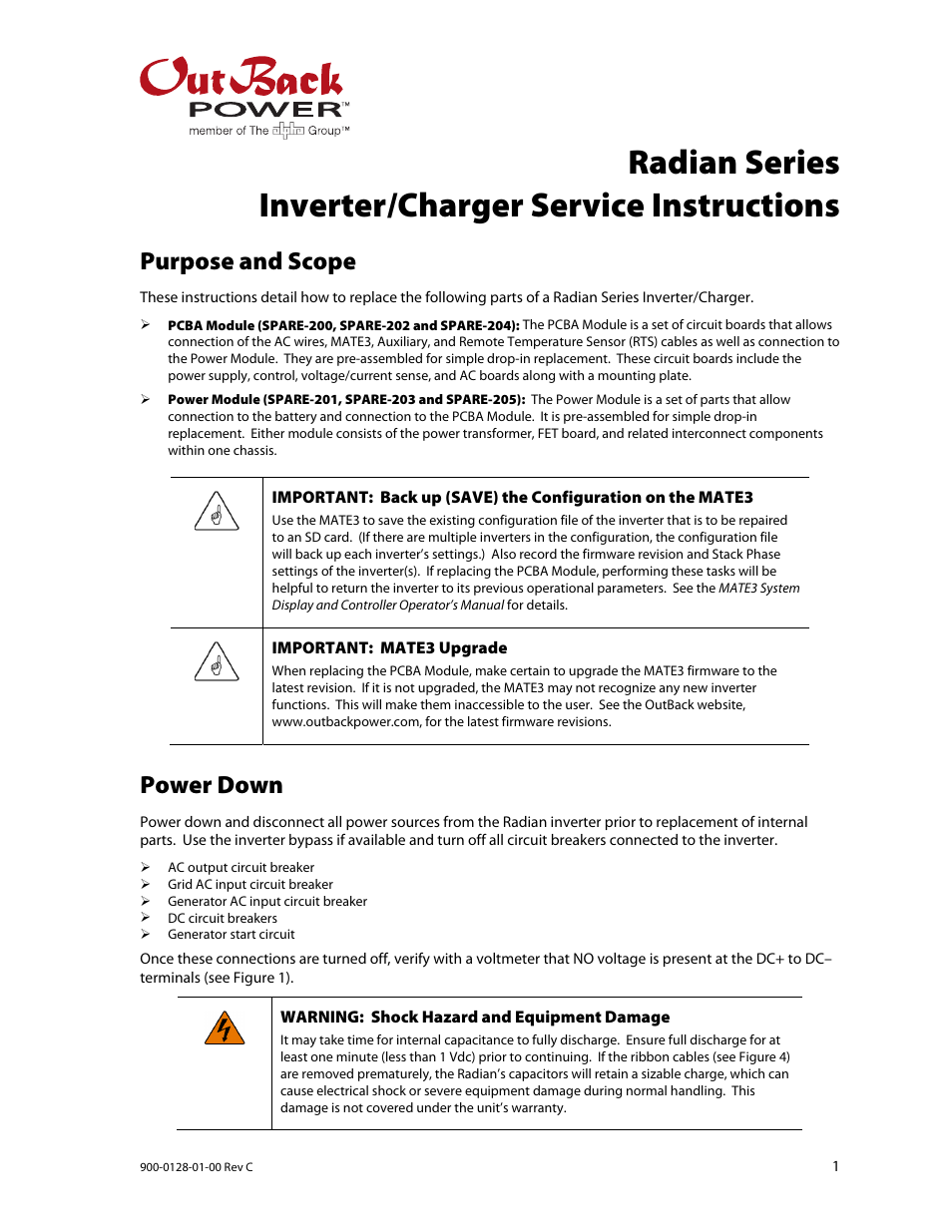 Outback Power Systems Radian Series Inverter Charger Service Generator Voltmeter Ac Wiring Circuits Instructions User Manual 8 Pages