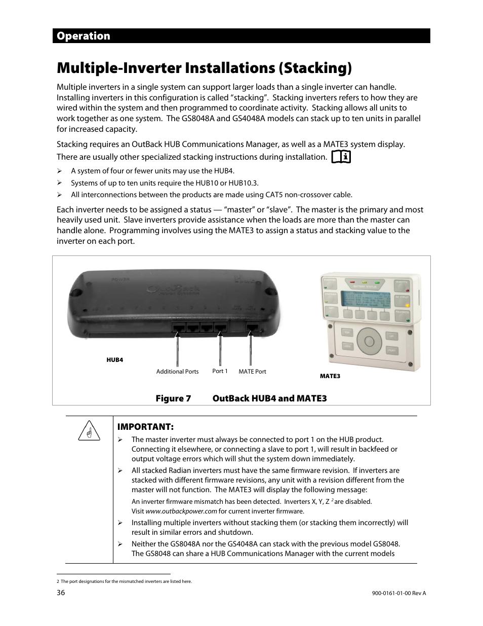 Multiple-inverter installations (stacking), Operation
