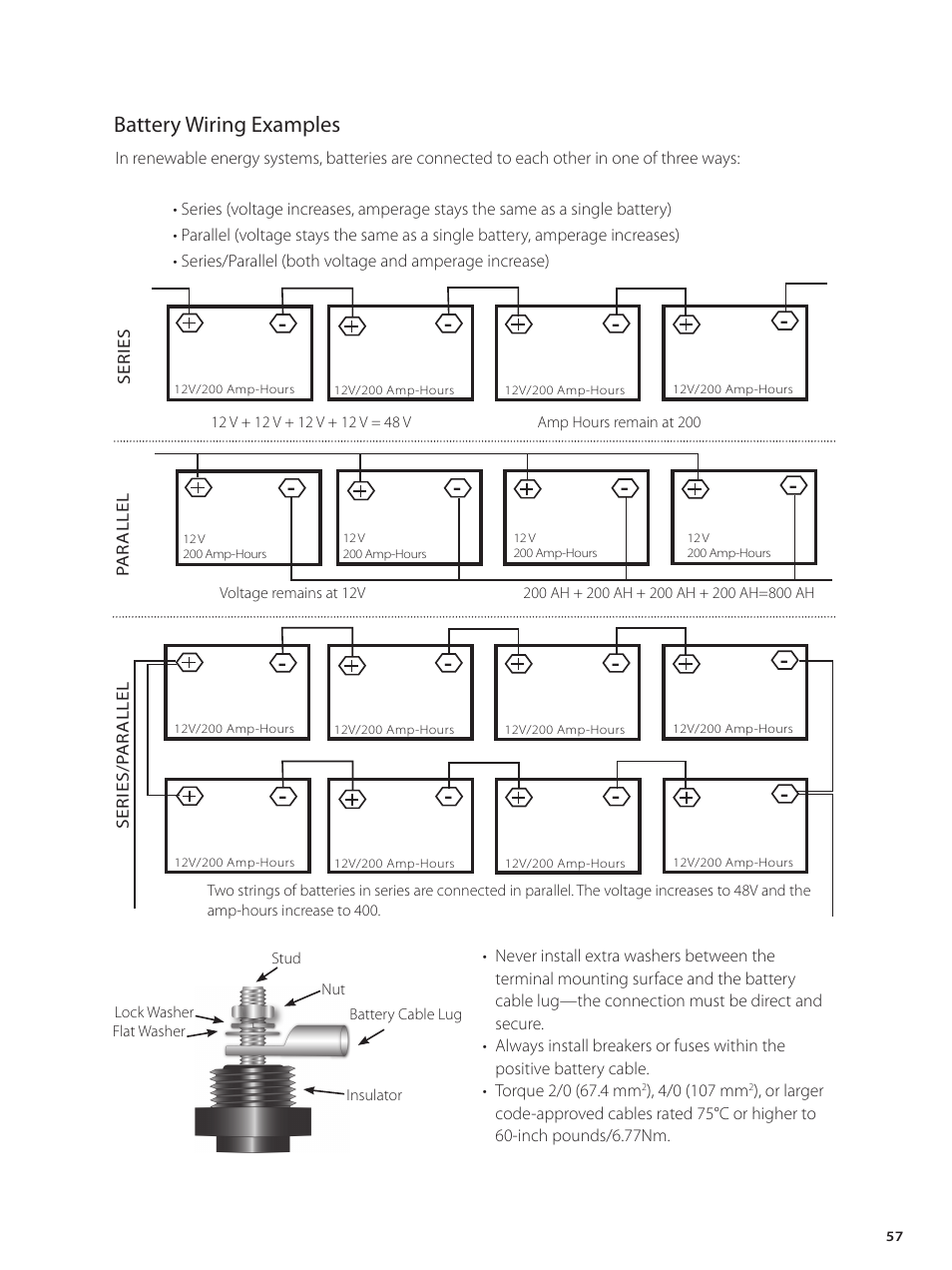 Battery Wiring Examples Outback Power Systems Gvfx Series Inverter And Parallel Bank Charger Installation Manual User Page 59 88
