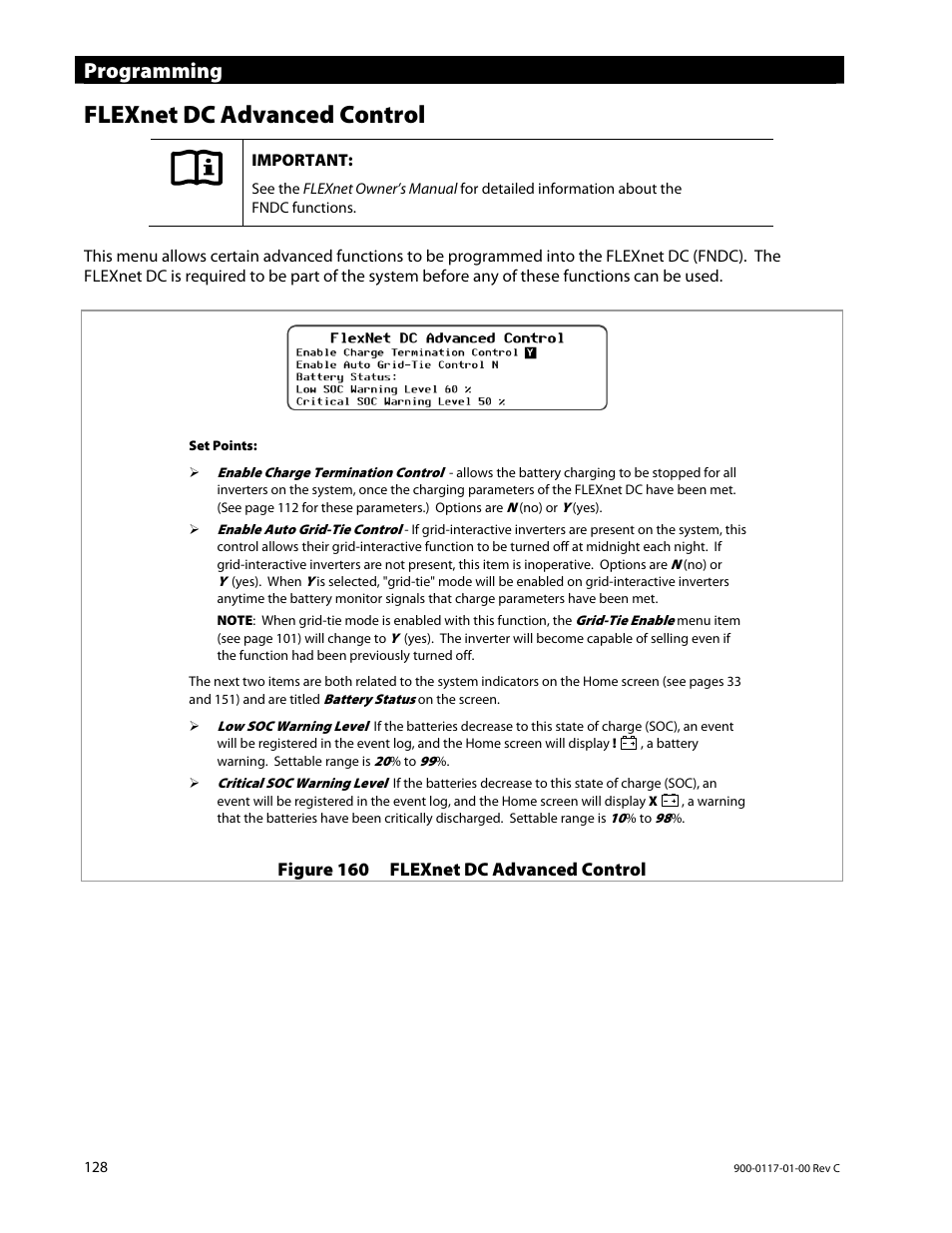 Flexnet dc advanced control, Programming   Outback Power