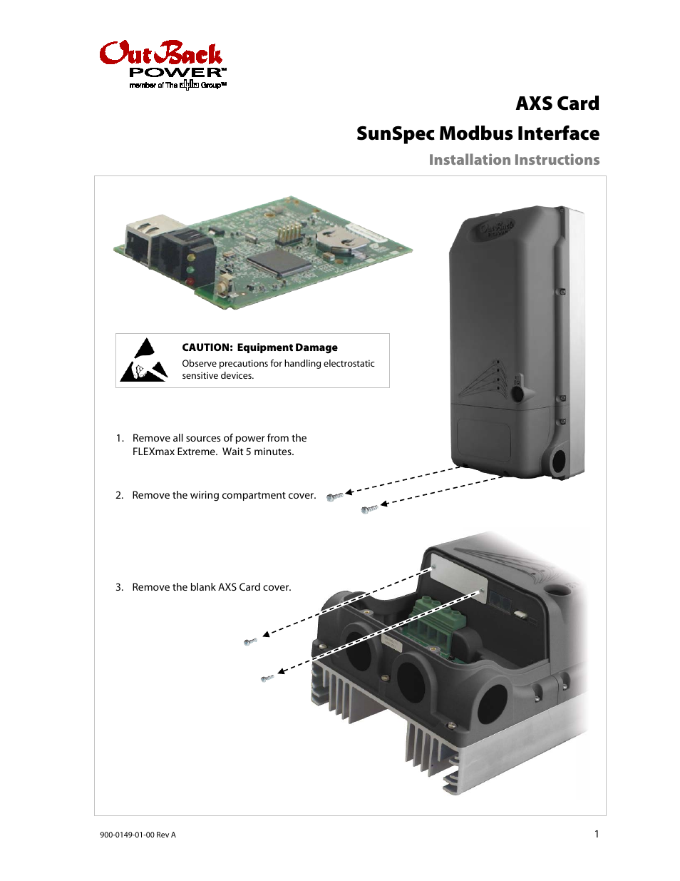 Outback Power Systems Axs Card Sunspec Modbus Interface Installation Wiring Specification Instructions User Manual 2 Pages Also For Flexmax Extreme