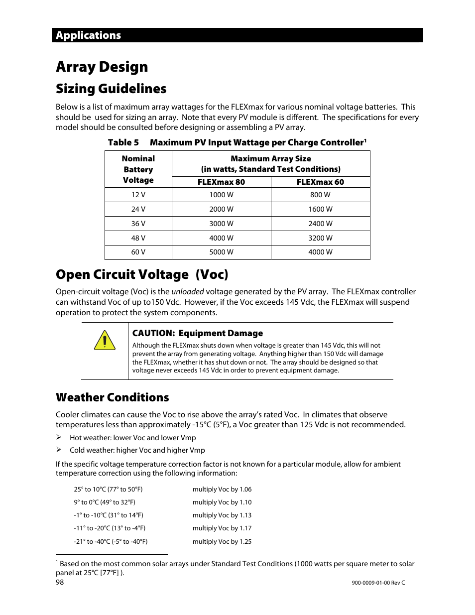 Array design, Sizing guidelines, Open circuit voltage