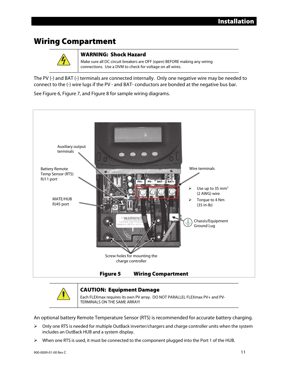 Wiring compartment, Installation, Warning: shock hazard | Outback Power  Systems FLEXmax 80 Owners Manual User Manual | Page 13 / 112