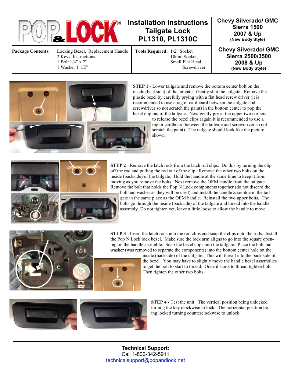 Pop & Lock PL1310C User Manual   2 pages   Also for: PL1310
