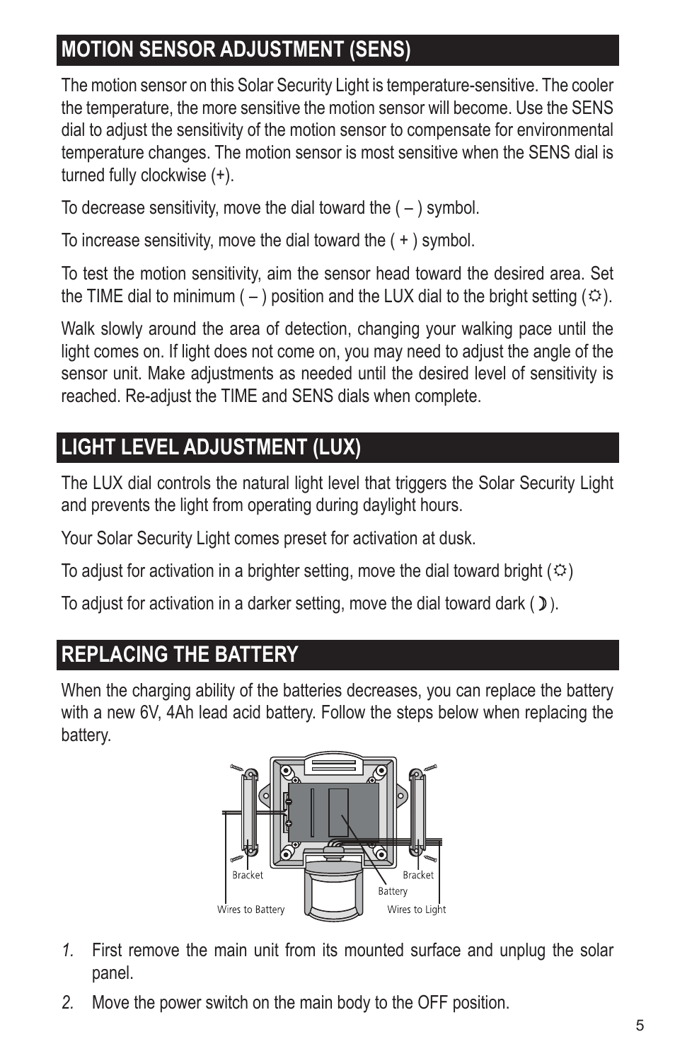 Motion Sensor Adjustment Sens Light Level Adjustment Lux Replacing The Battery Maxsa Innovations Solar Powered 50 Led Motion Activated Outdoor Security Floodlight User Manual Page 5 8