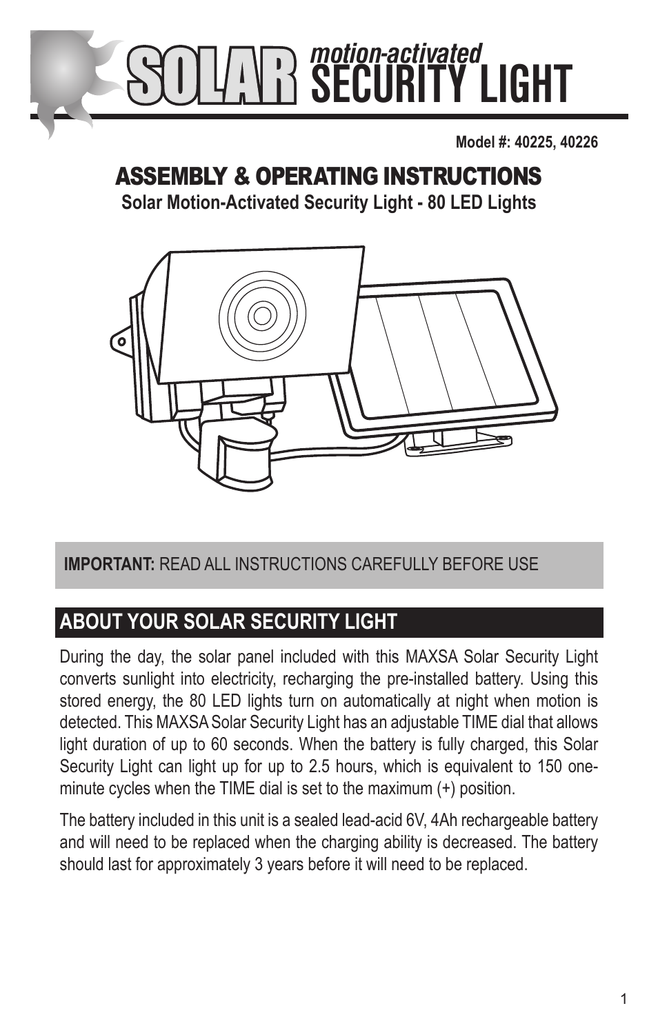 Maxsa innovations solar powered motion activated 80 led security maxsa innovations solar powered motion activated 80 led security floodlight user manual 8 pages also for solar powered 80 led motion activated outdoor aloadofball Image collections