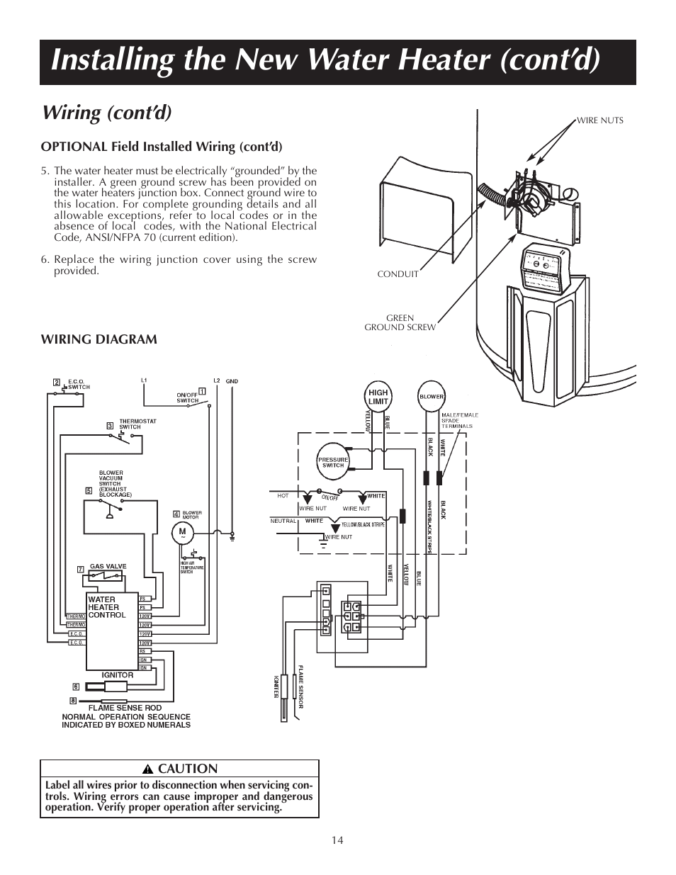 installing the new water heater  cont u2019d   wiring  cont u2019d
