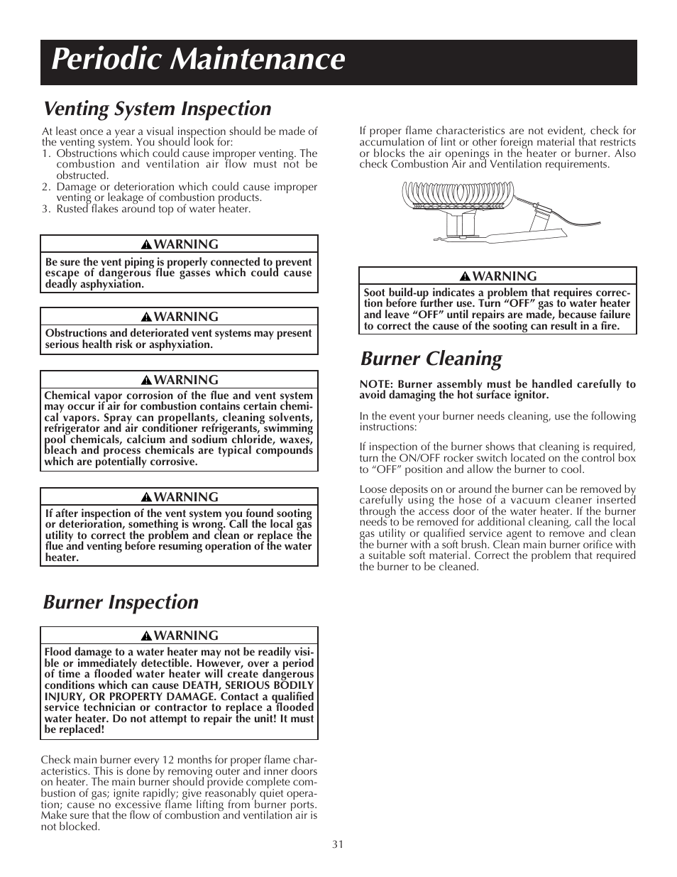 Periodic maintenance, Venting system inspection, Burner inspection | State  PR6 75 XRVIT User Manual | Page 31 / 40