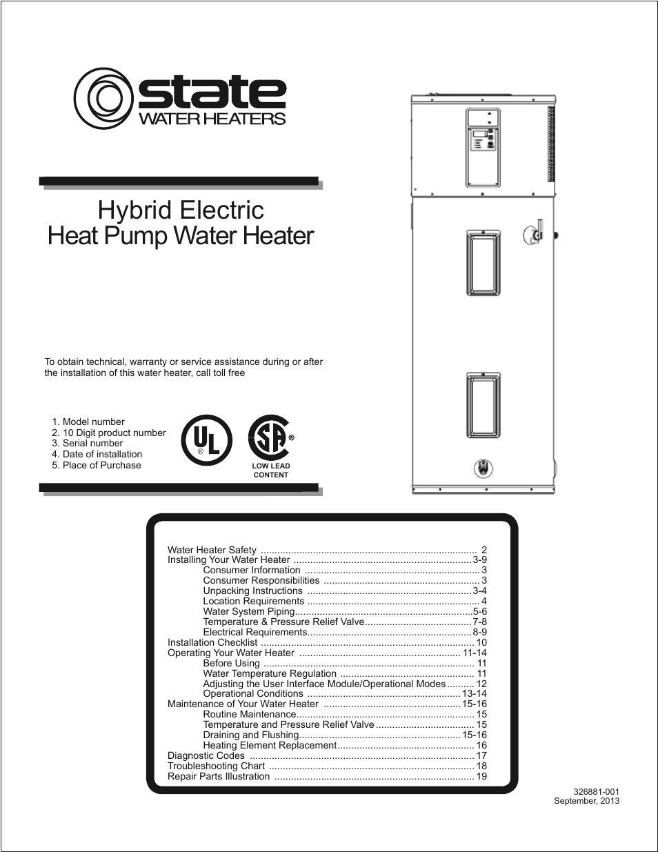 State Spx 50 Dhpt User Manual 20 Pages Electric Water Heater Installation Instructions