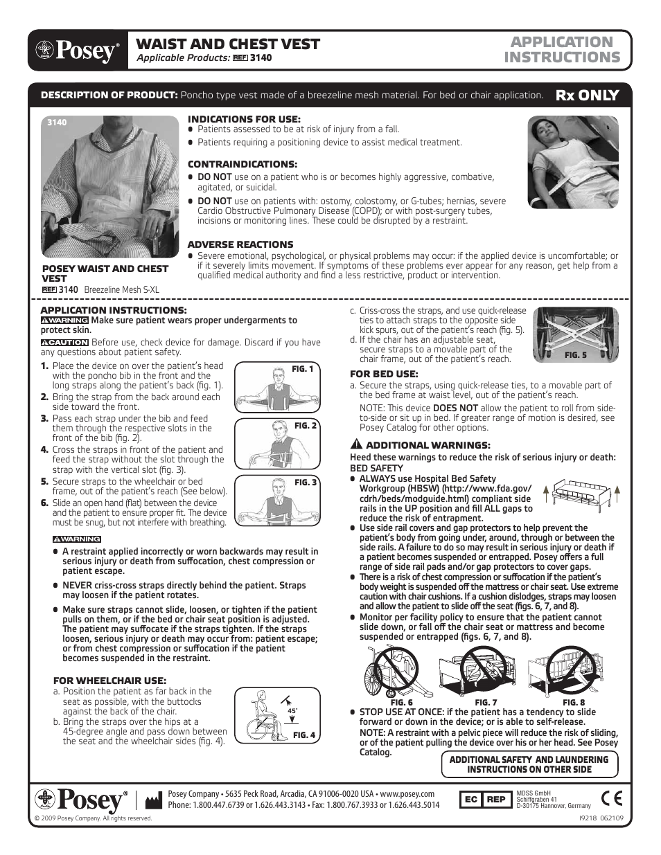 Posey Waist And Chest Vest User Manual 2 Pages