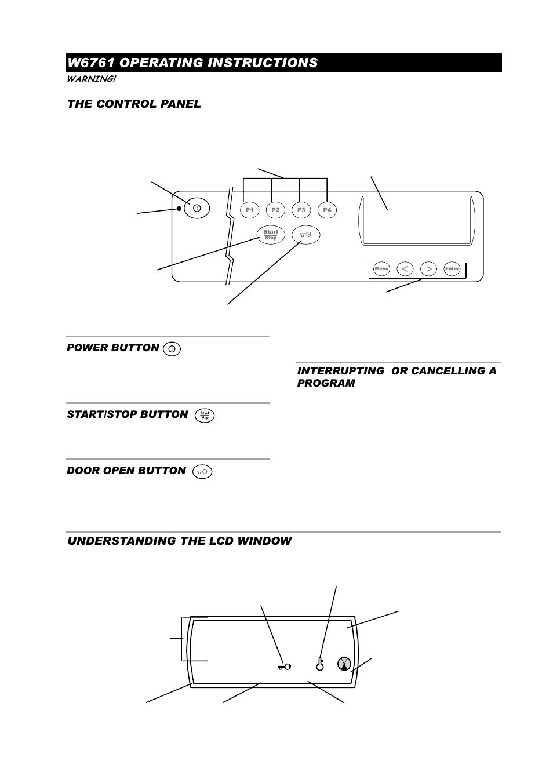 w6761 operating instructions the control panel understanding the rh manualsdir com