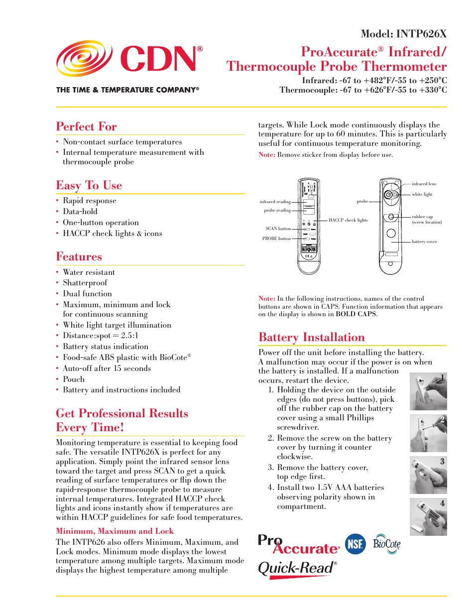 CDN INTP626X - ProAccurate® Infrared/Thermocouple Probe