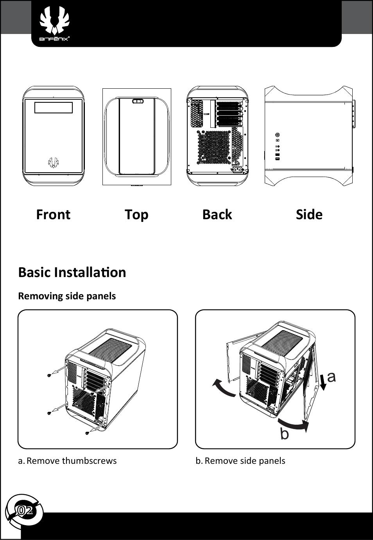 basic installation front top back side