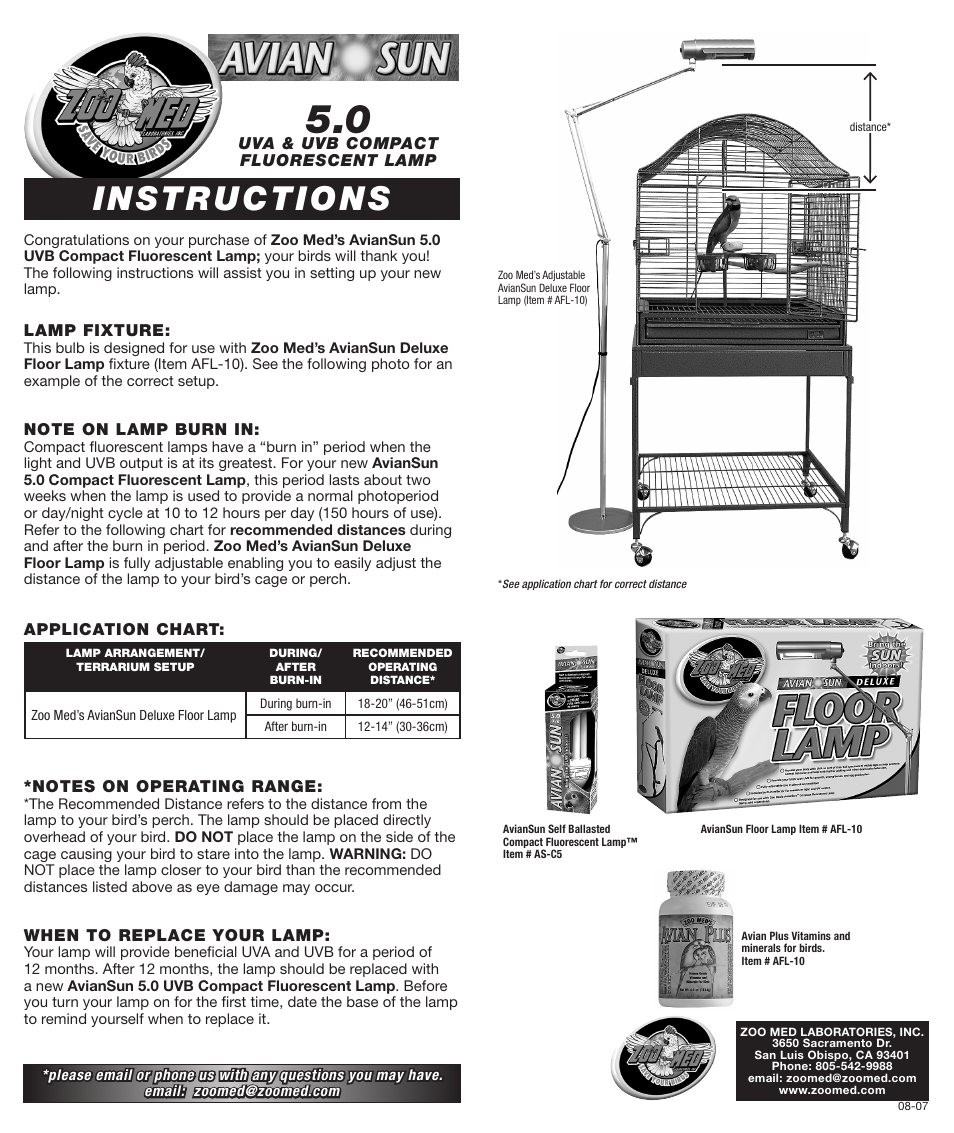 Zoo Med Aviansun 5 0 Uvb Compact Fluorescent User Manual