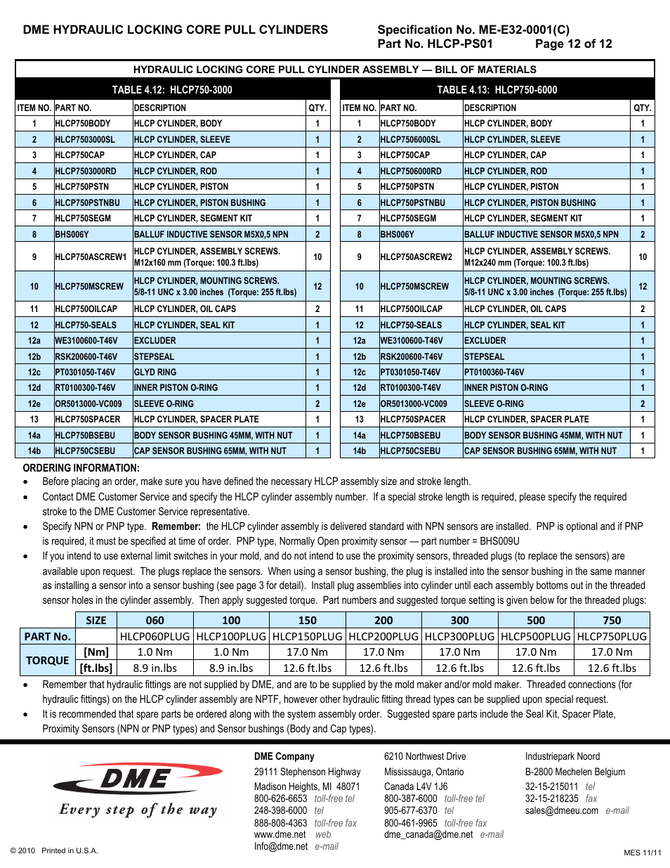 DME Hydraulic Locking Core Pull Cylinders User Manual | Page 12 / 12