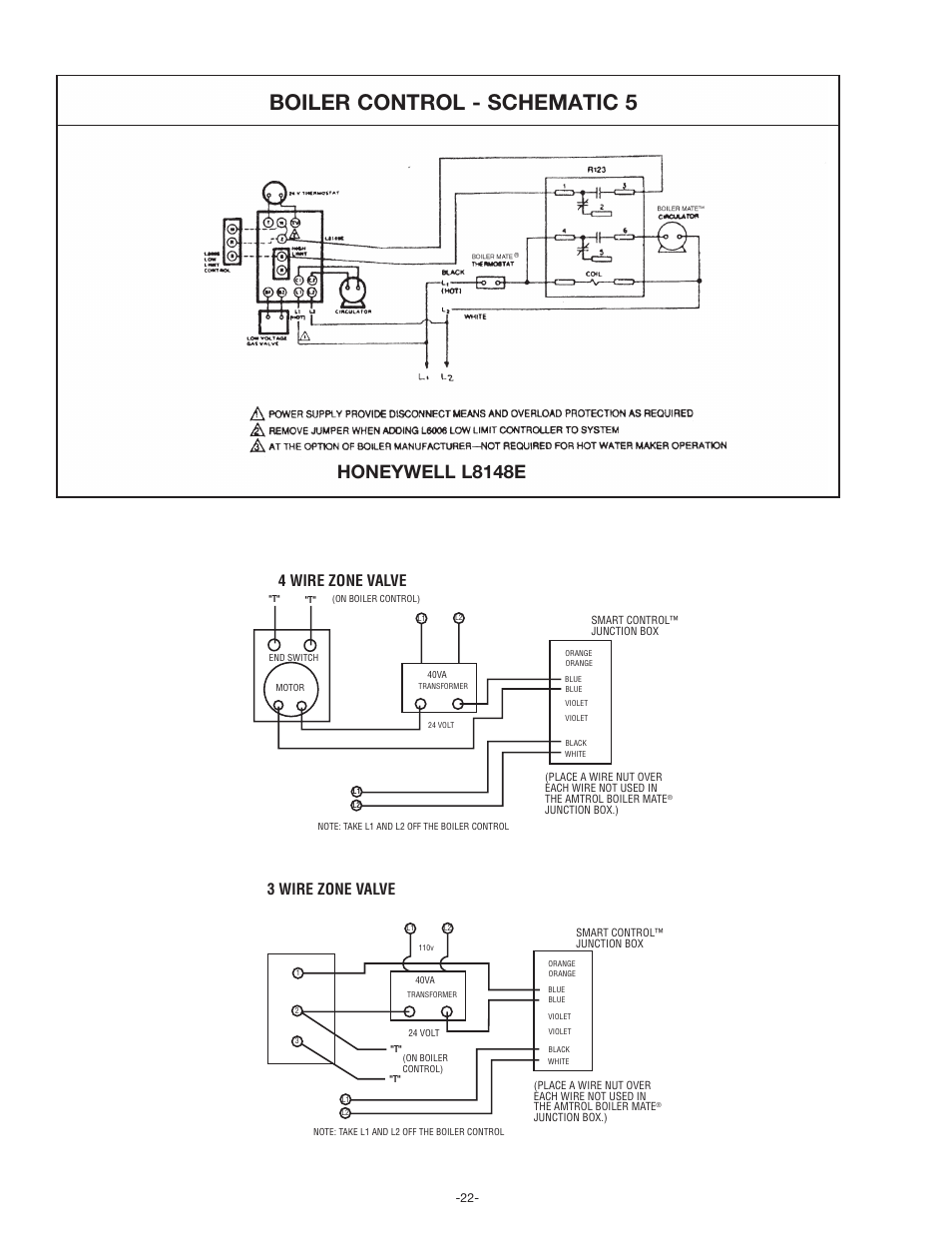 Boiler control - schematic 5, Honeywell l8148e, 4 wire zone valve | Amtrol  BoilerMate Top Down User Manual | Page 22 / 32