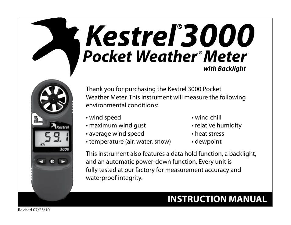 kestrel 3000 instruction manual