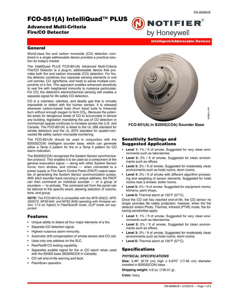 Notifier FCO-851 User Manual | 2 pages