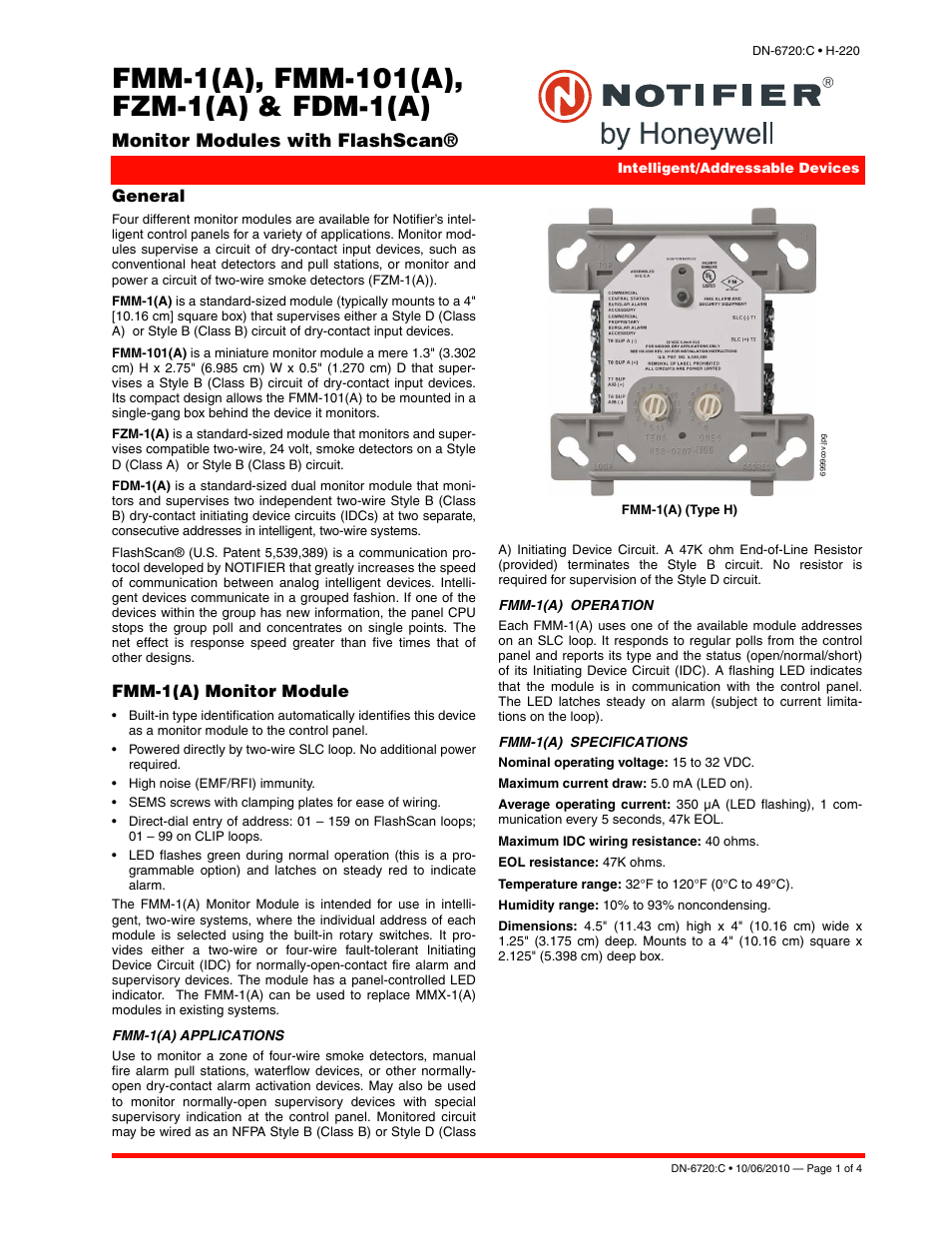 Notifier FZM User Manual | 4 pages | Also for: FMM
