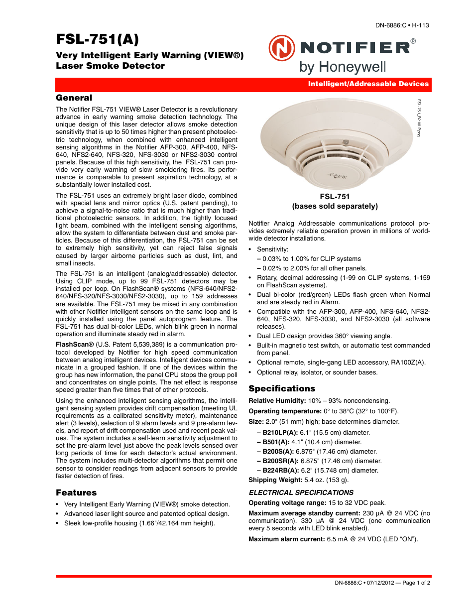 Notifier FSL-751 User Manual | 2 pages