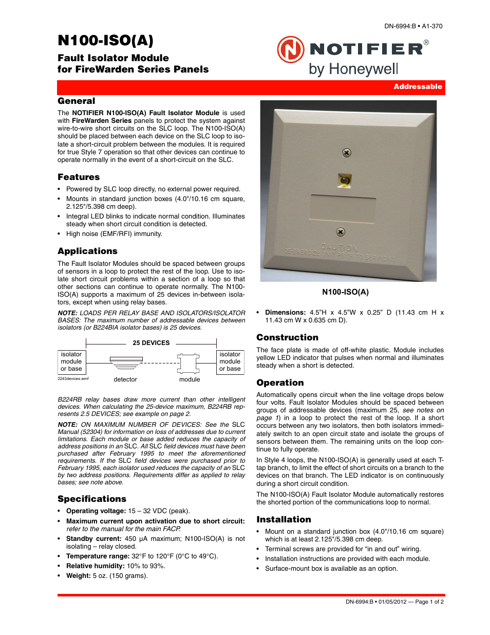 Notifier N100-ISO User Manual | 2 pages