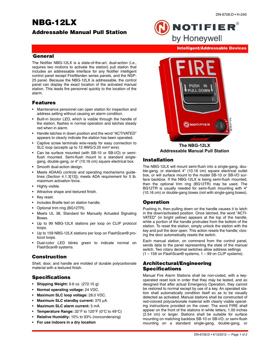 Notifier NBG-12LX User Manual | 2 pages