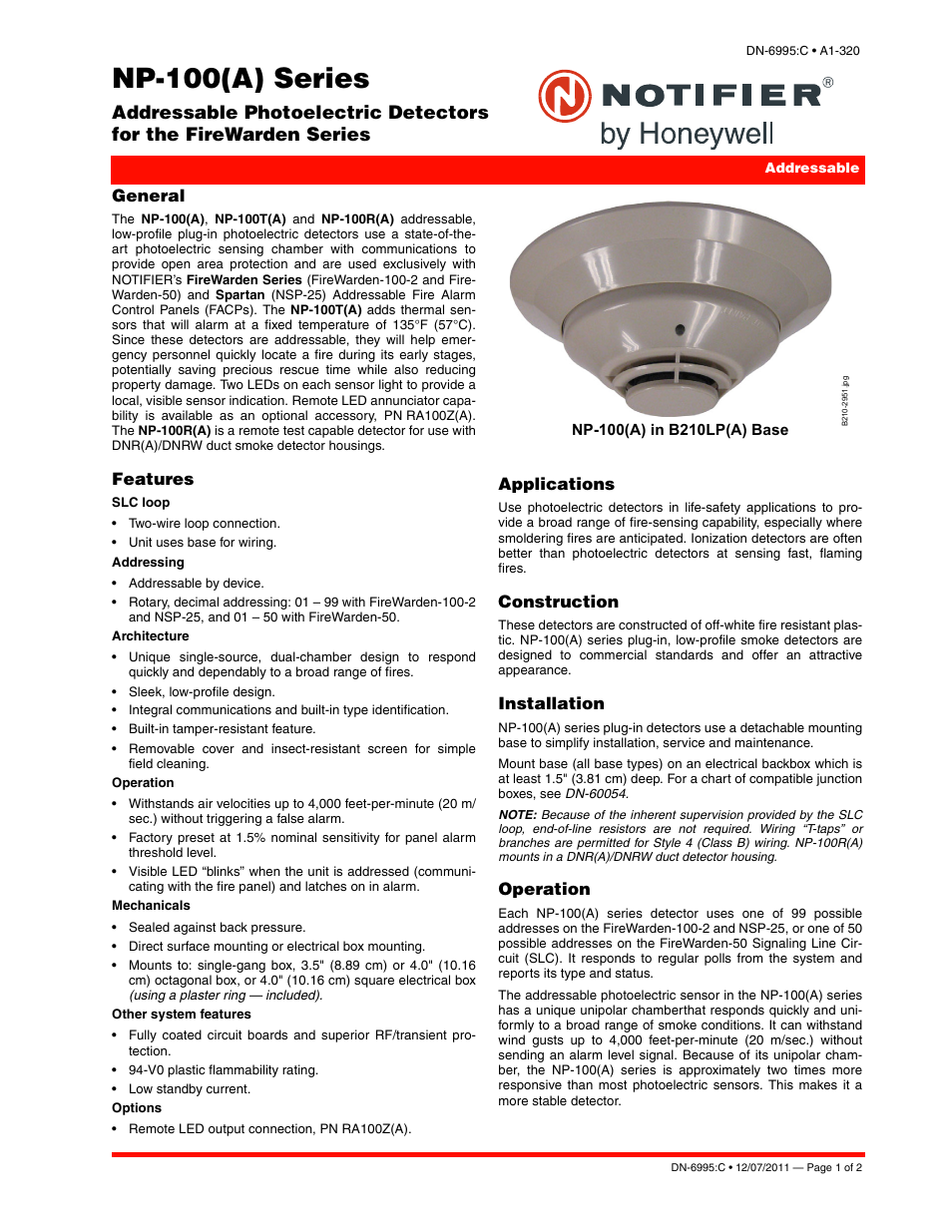 Notifier NP-100(T)(A) User Manual | 2 pages