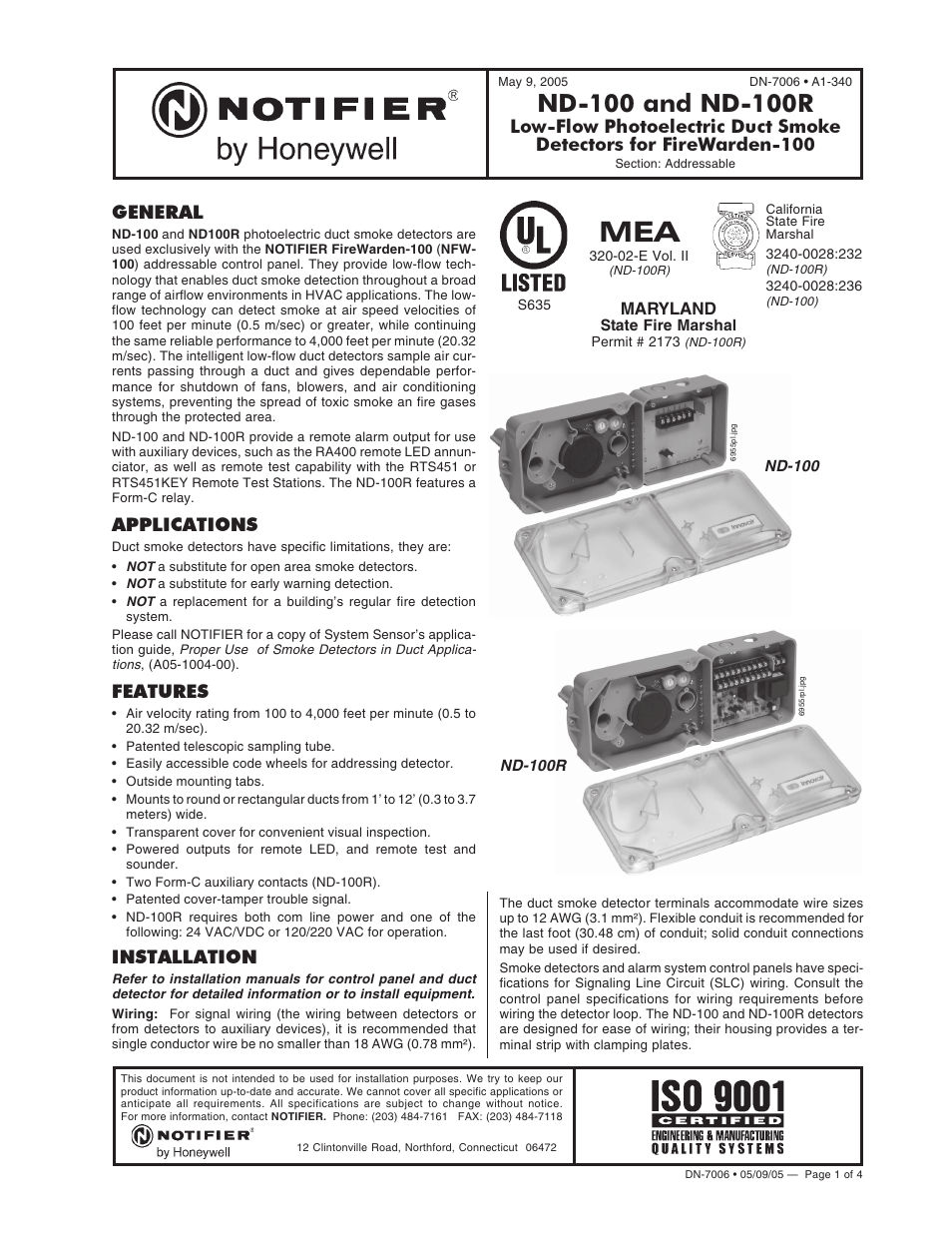 Notifier ND-100R User Manual | 4 pages