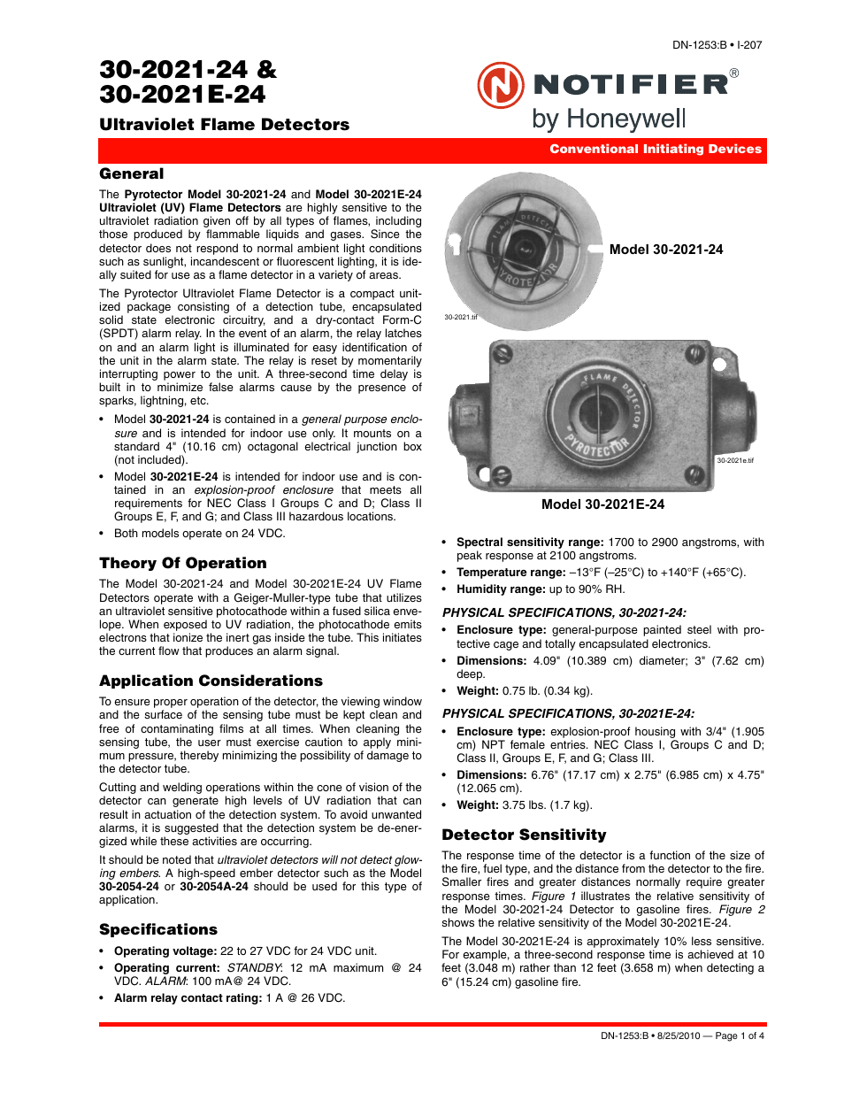 Notifier 30-2021E-24 User Manual | 4 pages | Also for: 30-2021-24