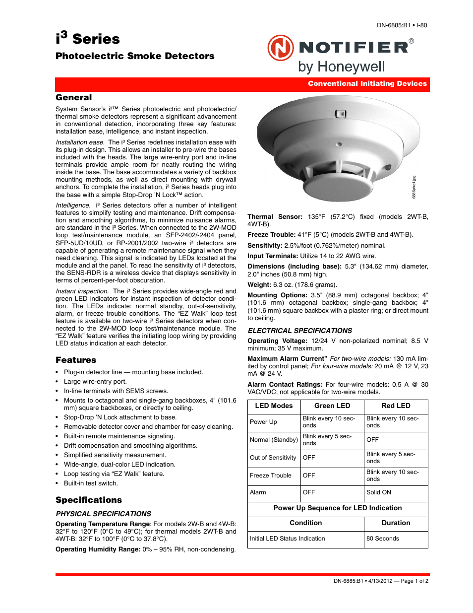 Notifier I3 Series User Manual | 2 pages