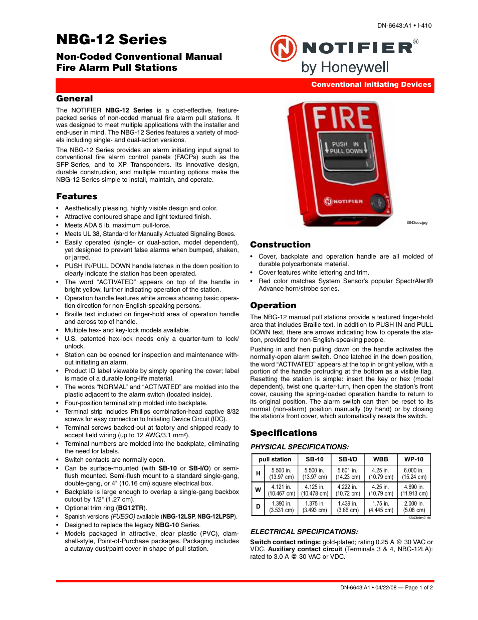 Notifier NBG-12 Series User Manual | 2 pages
