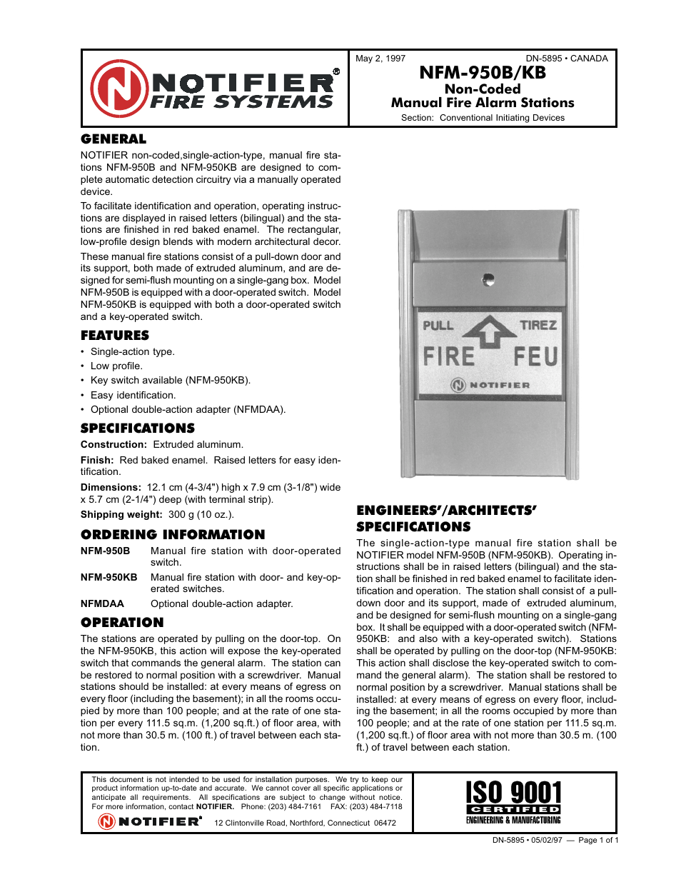 Notifier NFM-950B/KB User Manual | 1 page