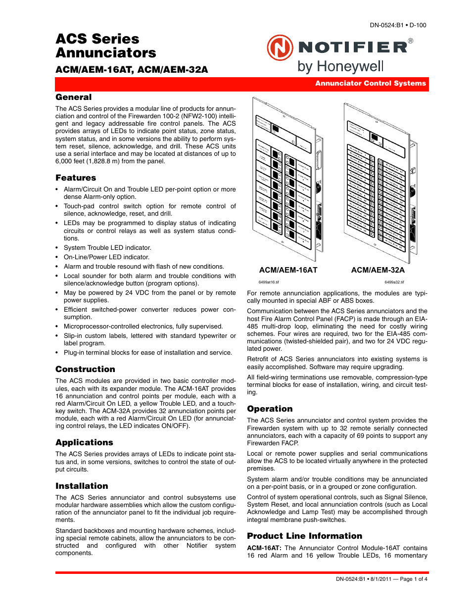 Notifier ACM/AEM-32A User Manual | 4 pages | Also for: ACM/AEM-16AT