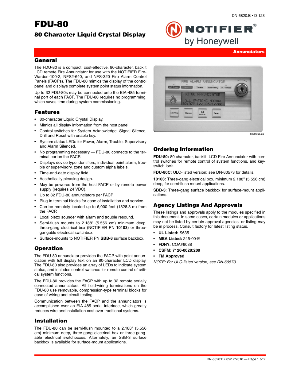 Notifier FDU-80 User Manual | 2 pages