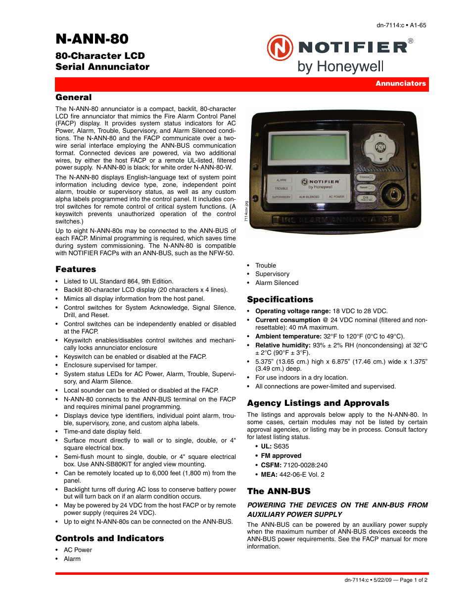 Notifier N-ANN-80 User Manual | 2 pages