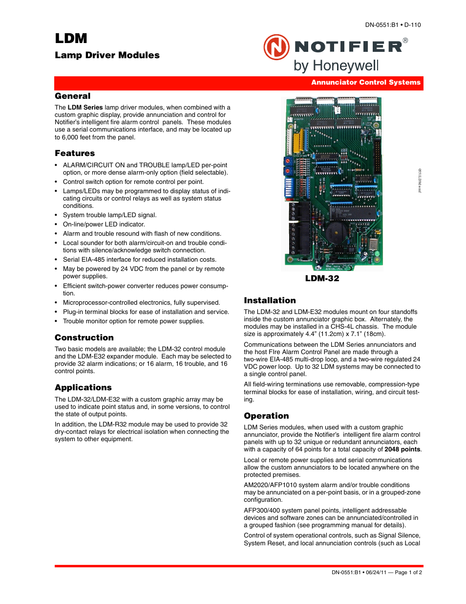Notifier Ldm User Manual
