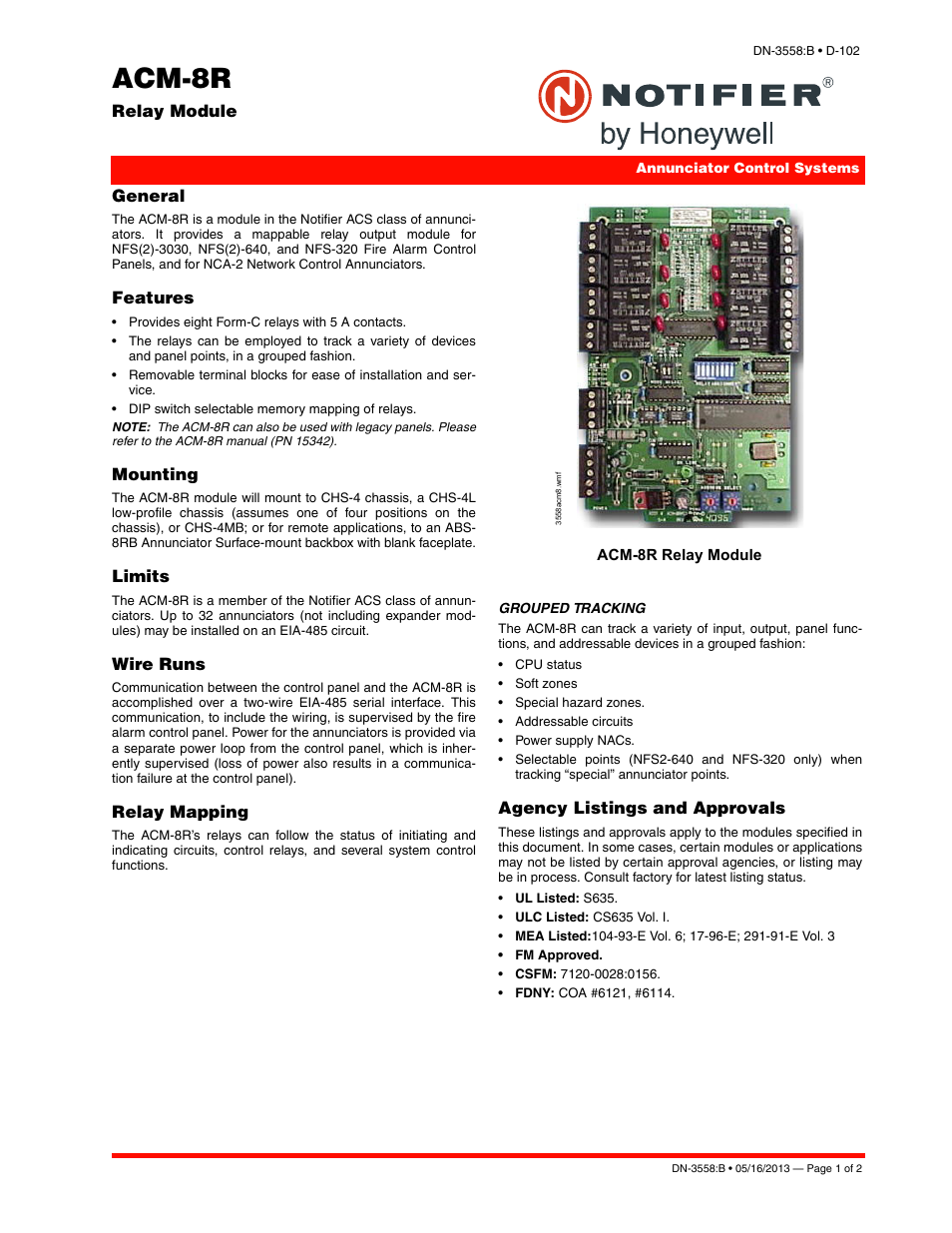 Notifier ACM-8R User Manual | 2 pages