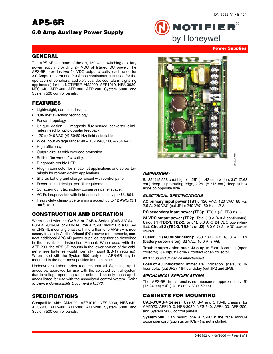 Notifier APS-6R User Manual | 2 pages