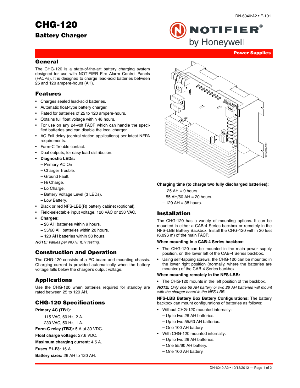 Notifier CHG-120 User Manual | 2 pages