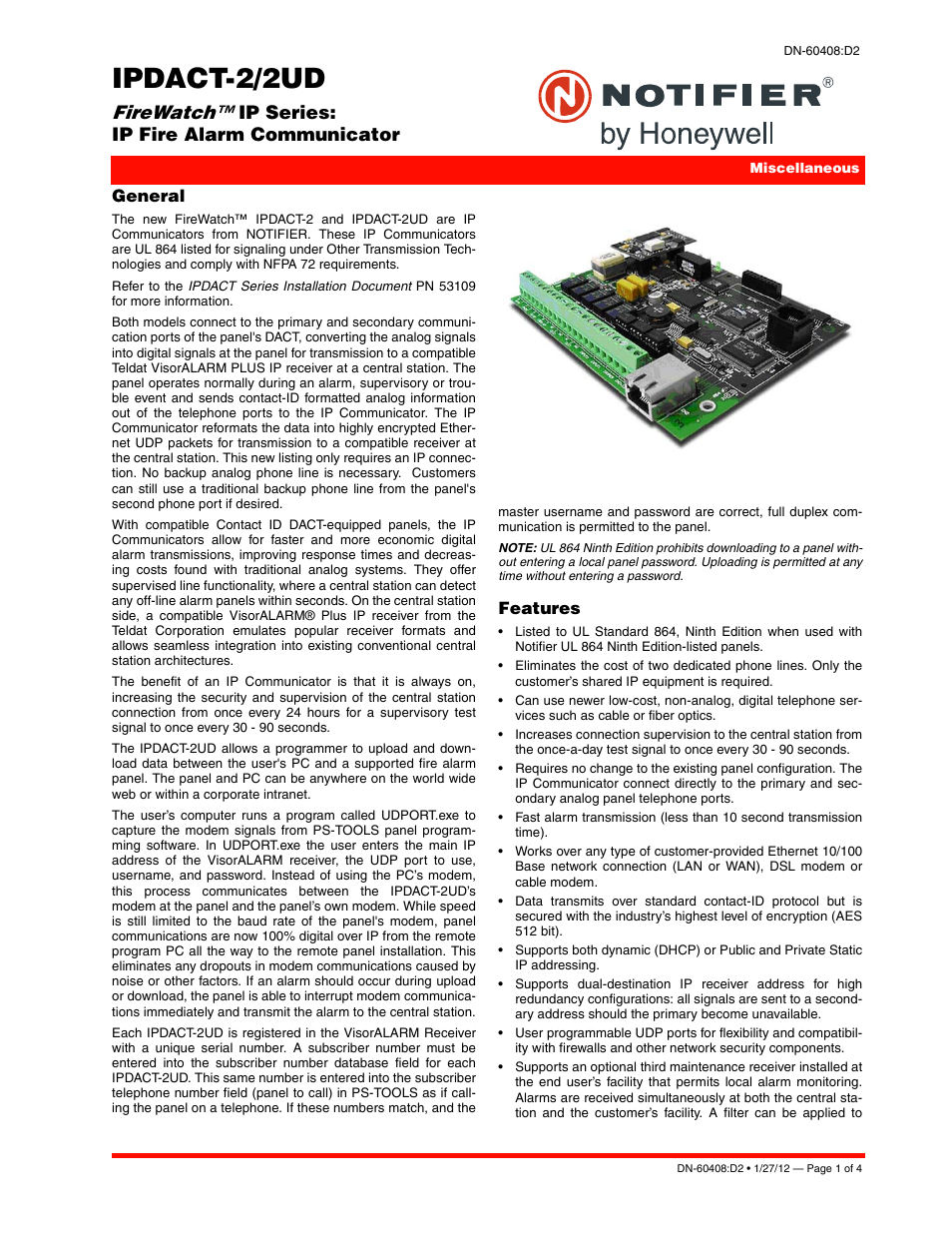 Notifier IPDACT-2/2UD User Manual | 4 pages