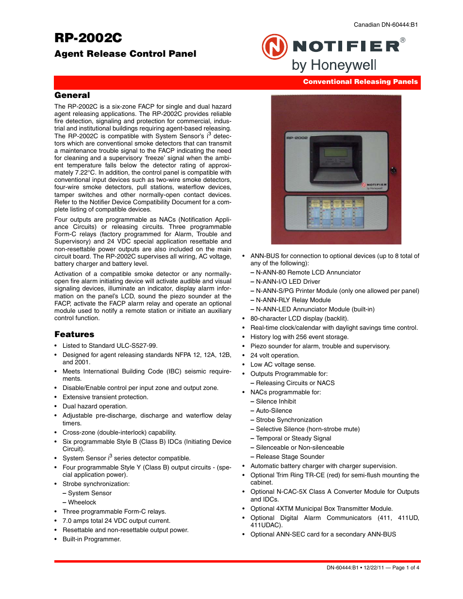 Notifier Rp 2002c User Manual 4 Pages