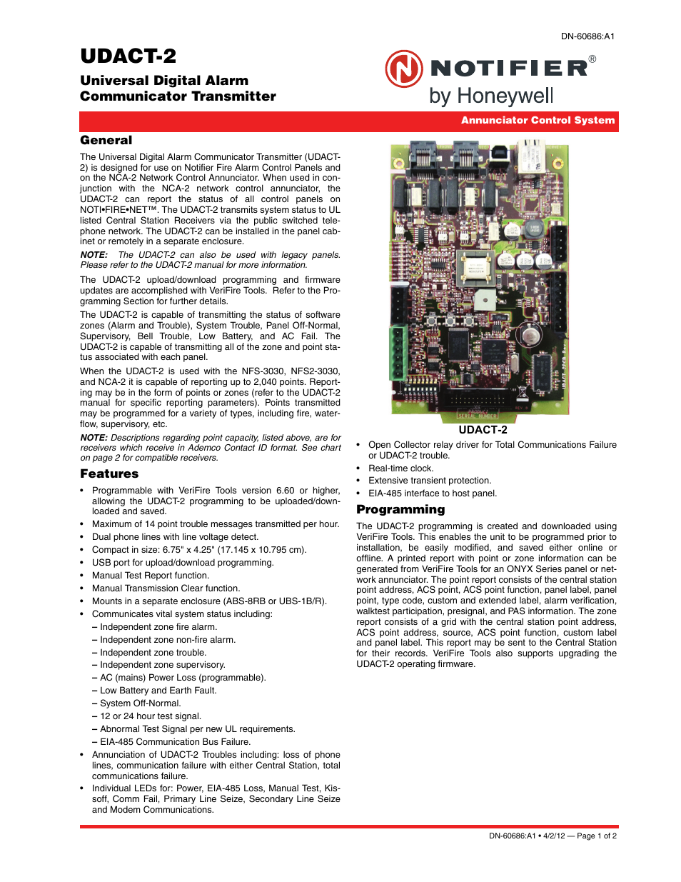 Notifier UDACT-2 User Manual | 2 pages