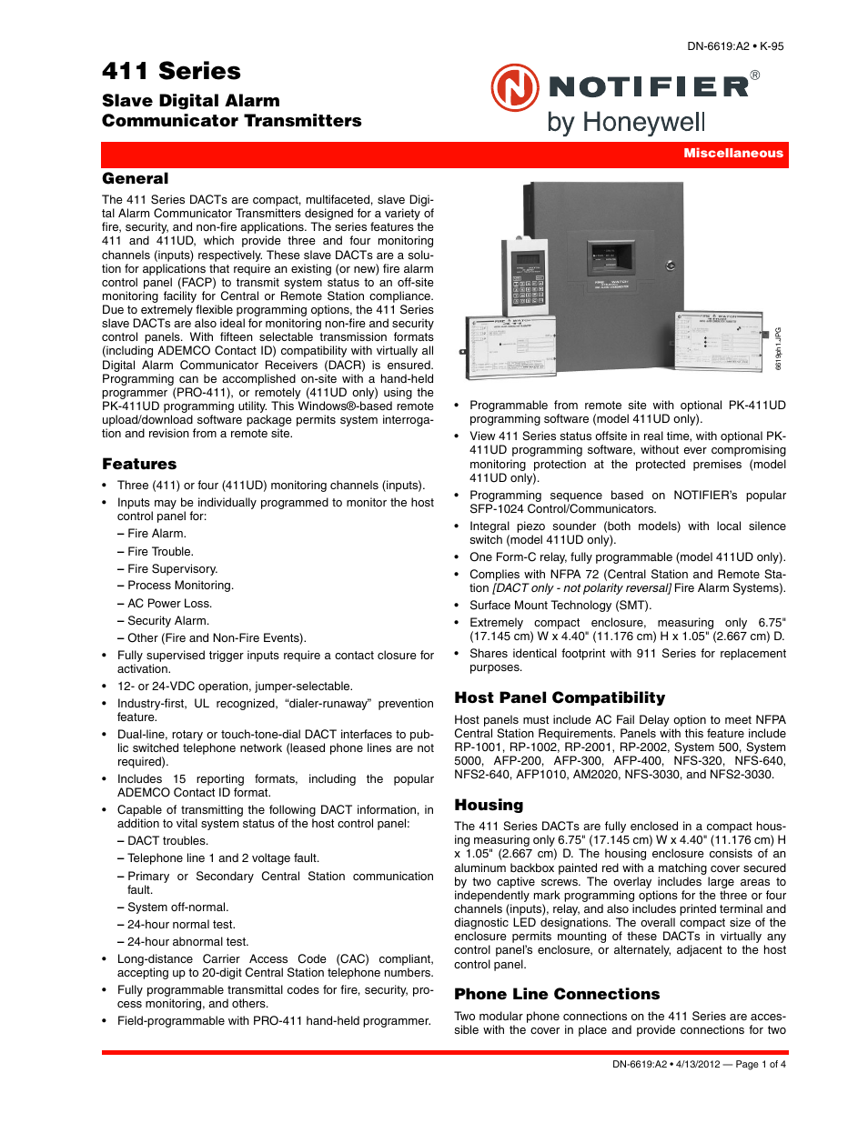 Notifier 411 Series User Manual | 4 pages