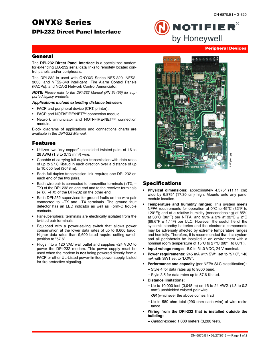 Notifier DPI-232 User Manual | 2 pages