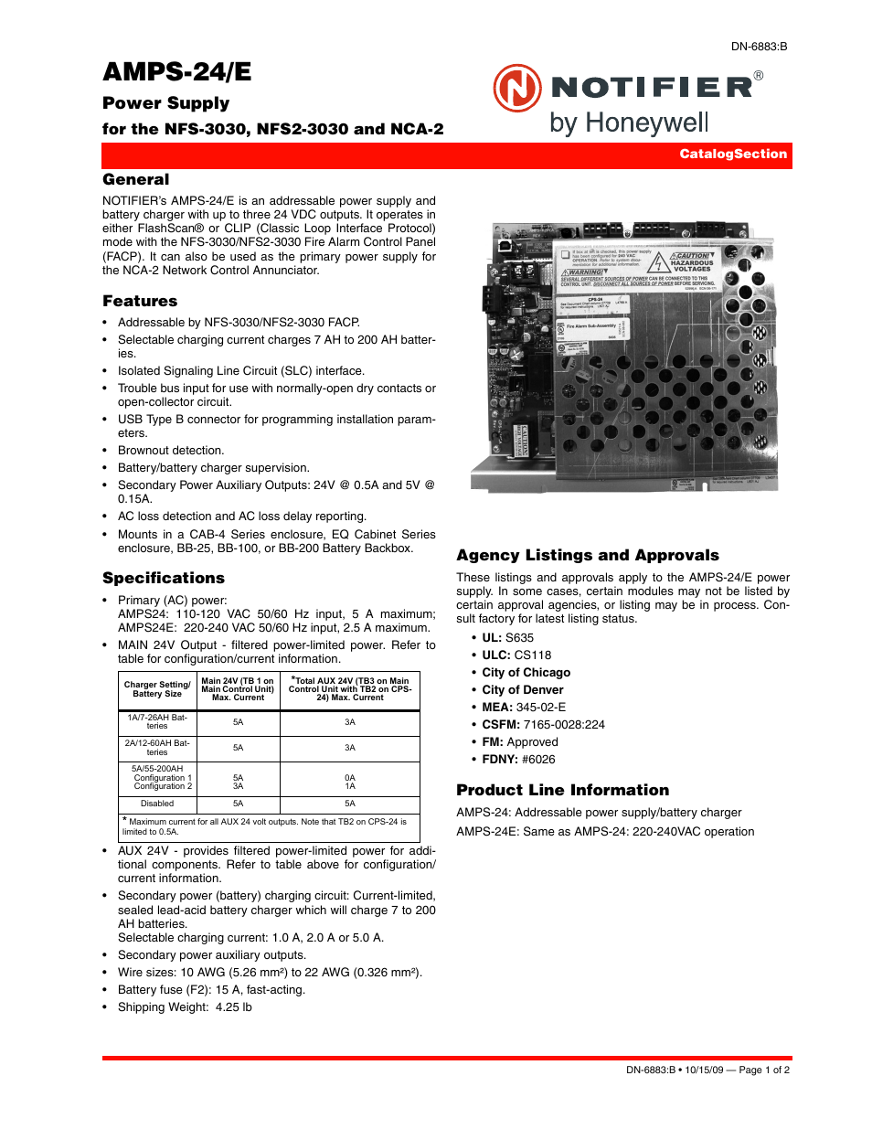 Notifier AMPS-24 User Manual | 2 pages