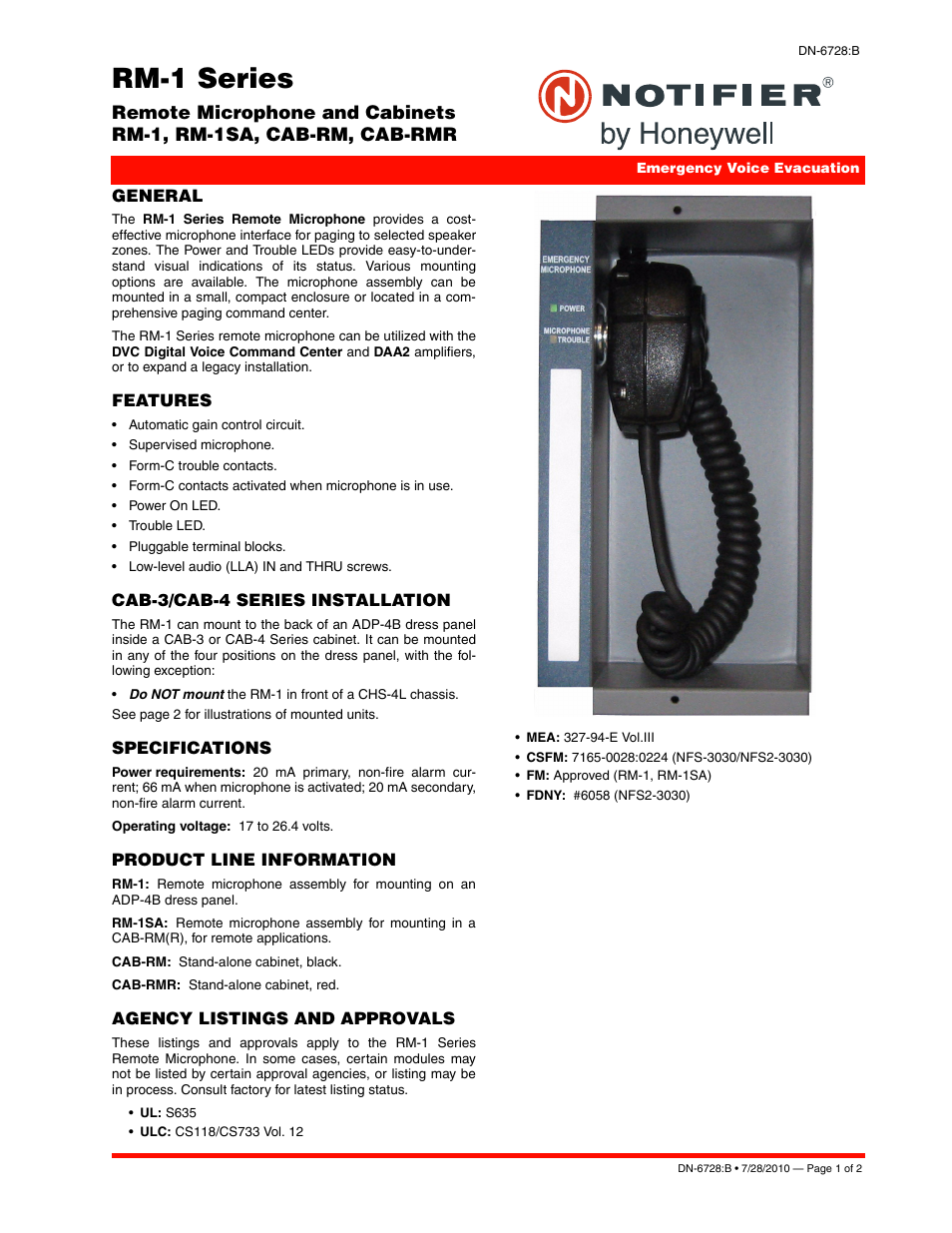 Notifier RM-1 User Manual | 2 pages