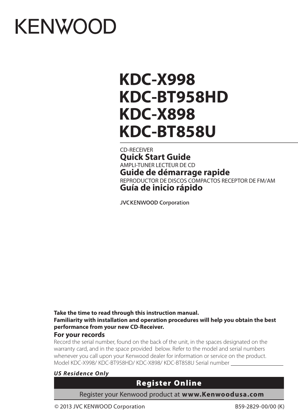 kenwood kdc x898 page1 kenwood kdc x898 user manual 48 pages also for kdc x998 kenwood kmr 555u wiring diagram at soozxer.org
