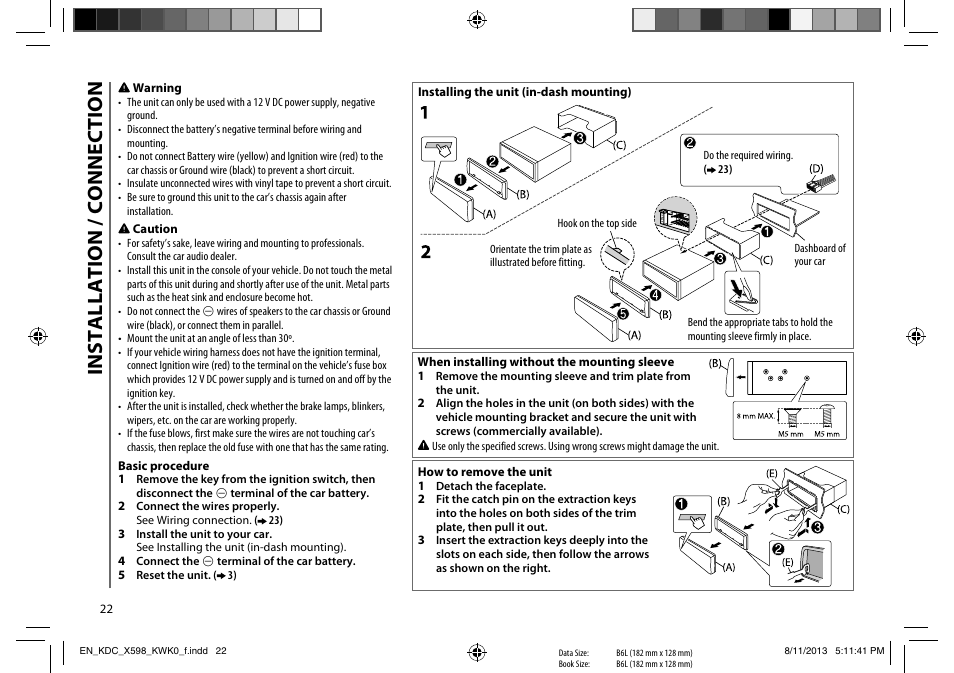 installation connection kenwood kdc x598 user manual page 22installation connection  kenwood kdc x598 user manual page